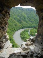 výhled na Váh z okna Starého hradu